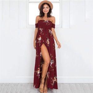Dresses & Skirts - Off Shoulder Smocked Bodice Floral Maxi Dress
